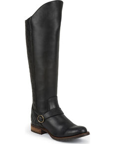 Justin Women's Kiva Leather Riding Boots - Round Toe, Black, hi-res