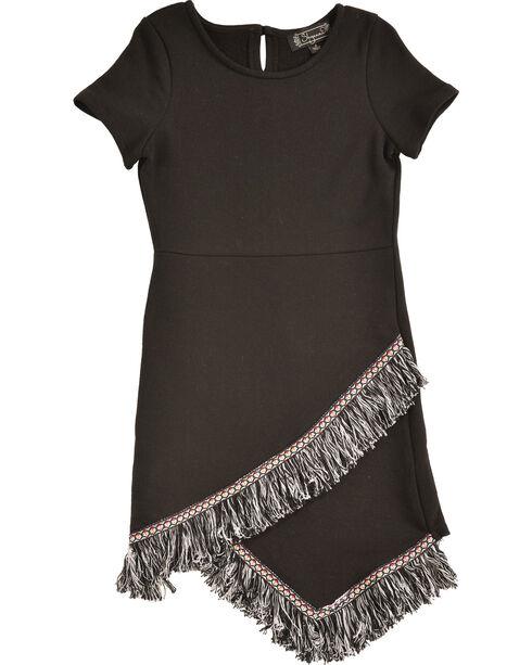 Shyanne Girls' Fringe Hem Short Sleeve Knit Dress, Black, hi-res