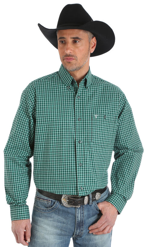 Wrangler 20X Men's Green/Black/White Advanced Comfort Competition Shirt - Big & Tall, Green, hi-res