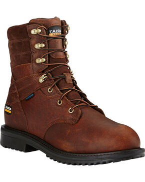 "Ariat Men's Brown RigTek Waterproof 8"" Work Boots - Composite Toe , Brown, hi-res"