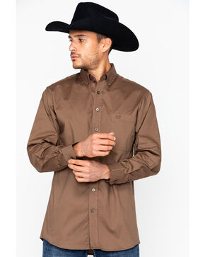 Panhandle Men's Solid Stretch Poplin Shirt , Brown, hi-res