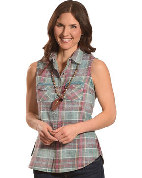 Shyanne Women's Turquoise and Magenta Plaid Sleeveless Shirt, Turquoise, hi-res