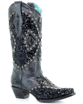 Corral Women's Black Cowhide Embroidered Inlay Cowgirl Boots - Snip Toe, Black, hi-res