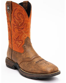 Cody James Men's Nano Lite Western Work Boots - Composite Toe, Orange, hi-res