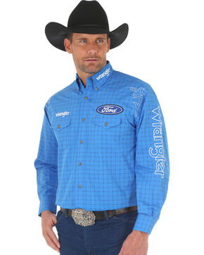 Wrangler Men's Blue Ford Logo Western Shirt , Blue, hi-res