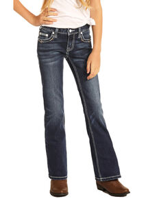 Rock & Roll Denim Girls' Feather Embroidered Bootcut Jeans, Blue, hi-res