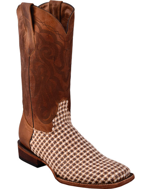 Ferrini Men's Basket Weave Brown Cowboy Boots - Square Toe, Brown, hi-res
