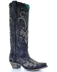 9813dc9c8e Corral Womens Tall Studded Overlay & Crystals Cowgirl Boots - Snip Toe,  Black, hi