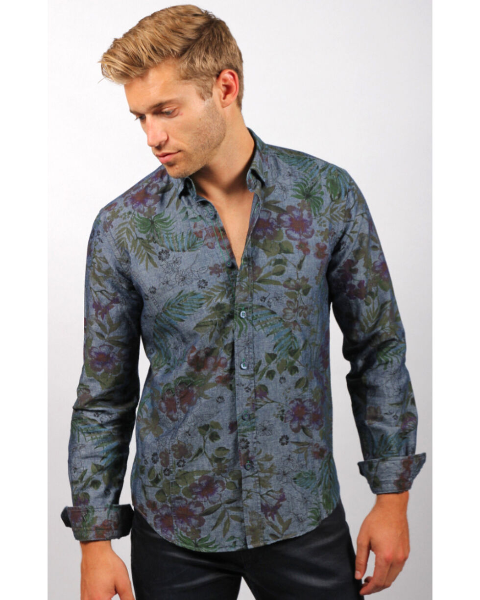 Eight X Men's Blue Floral Denim Shirt , Blue, hi-res