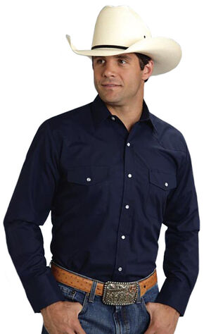 Roper Men's Broadcloth Solid Western Shirt, Navy, hi-res