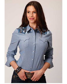 West Made Women's Chambray Aztec Yoke Long Sleeve Western Shirt, Blue, hi-res
