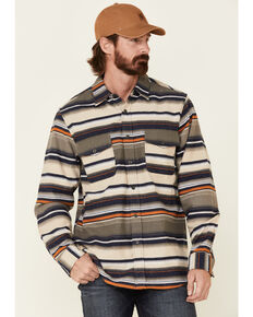 North River Men's Oatmeal Lake Striped Long Sleeve Western Flannel Shirt , Oatmeal, hi-res