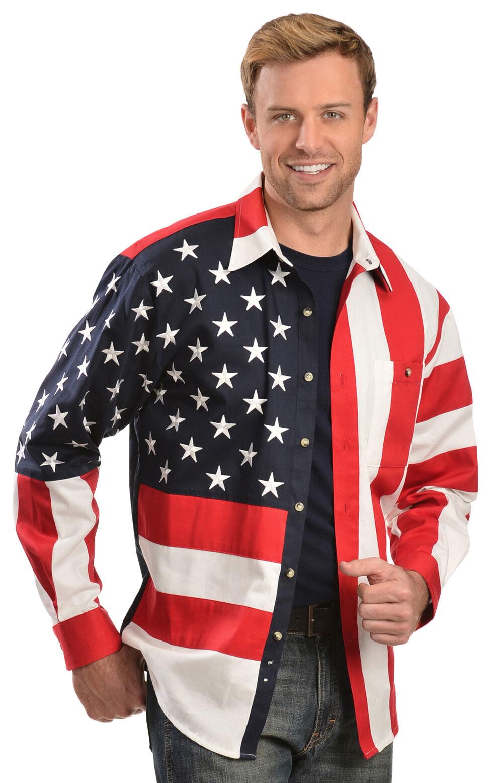 Rangewear by Scully Patriotic American Flag Western Shirt, Multi, hi-res