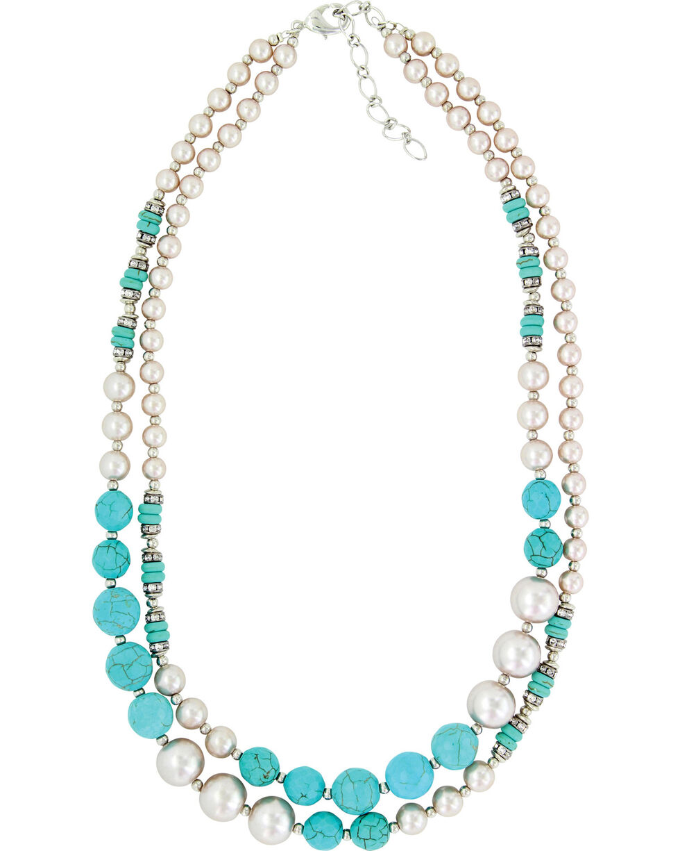 Montana Silversmiths Women's Pearled Sky Double Strand Necklace , Silver, hi-res