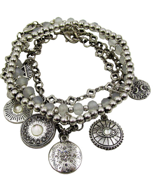 Silver Jeans Women's Coin Charm Beaded Bracelets, Silver, hi-res