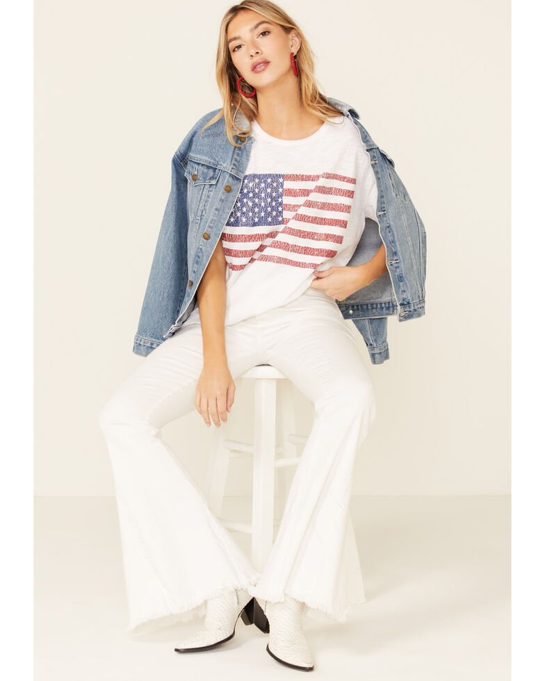 Show Me Your Mumu Women's Americana Cooper Flag Graphic Short Sleeve Tee , White, hi-res