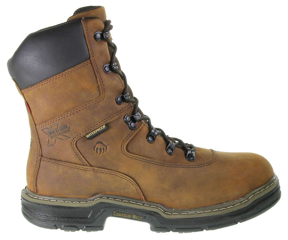 "Wolverine Marauder 8"" Waterproof & Insulated Lace-Up Work Boots - Round Toe, Brown, hi-res"