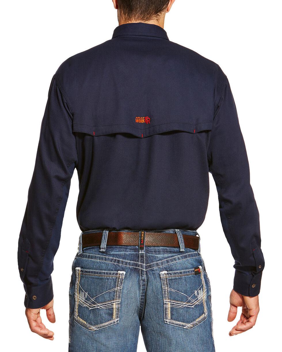Ariat Men's Navy FR Solid Vent Shirt - Tall , Navy, hi-res