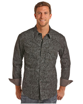 Rock & Roll Cowboy Men's Black Spray Washed Paisley Print Long Sleeve Snap Shirt, Black, hi-res
