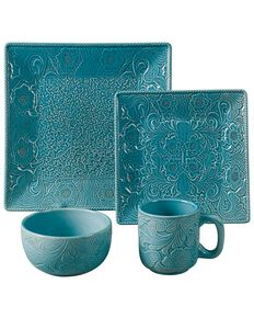 HiEnd Accents Savannah Turquoise Dinnerware Set, Turquoise, hi-res