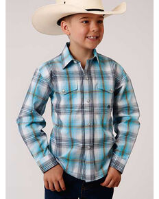 Roper Boys' Sweetwater Plaid Long Sleeve Snap Western Shirt , Turquoise, hi-res
