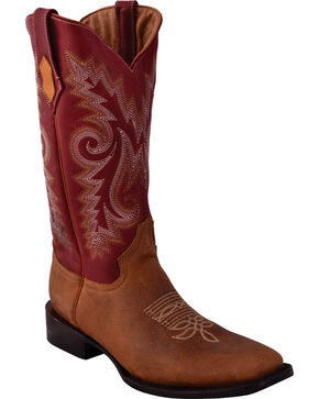 Ferrini Men's Roughrider Distressed Brown Cowboy Boots - Square Toe, Distressed Brown, hi-res