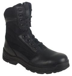 """Knapp Men's Tatical 8"""" Zipper Work Boots - Round Toe, Black, hi-res"""