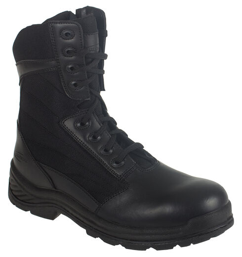 "Knapp Men's Tatical 8"" Zipper Work Boots - Round Toe, Black, hi-res"