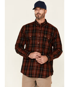 Wrangler Riggs Men's Red Large Plaid Long Sleeve Button-Down Work Shirt , Red, hi-res