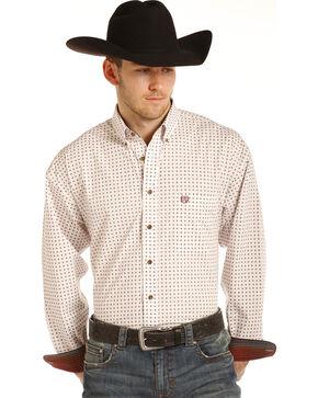 Panhandle Men's White Geo Print Long Sleeve Western Shirt, Brown, hi-res