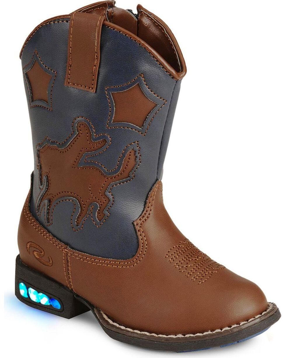 Roper Toddler Boys' Light Up Bronco Cowboy Boots, Tan, hi-res