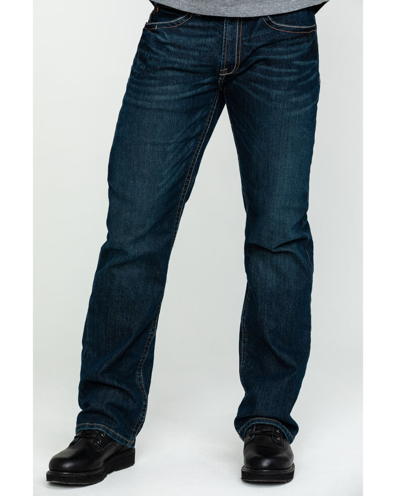 Ariat Men's M4 Rebar Bootcut Dark Wash Relaxed Work Jeans, Denim, hi-res