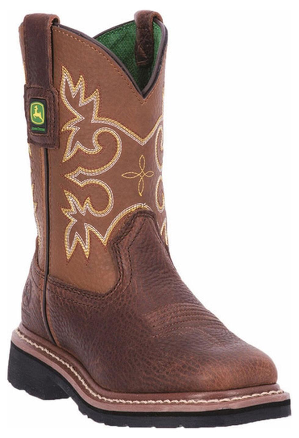 John Deere Boys' Johnny Popper Mesquite Western Boots - Square Toe, Mesquite, hi-res