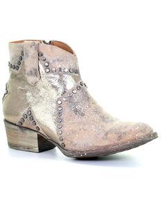 Circle G Women's Bone Star Inlay Western Booties - Round Toe, Ivory, hi-res