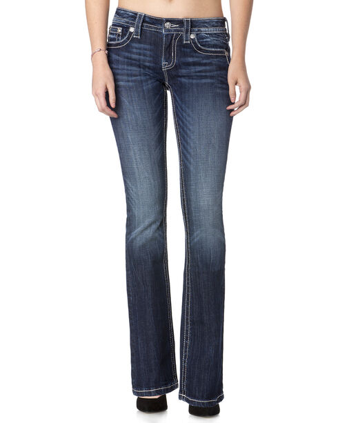 Miss Me Women's Break Through Angle Wings Mid Rise Jeans - Boot Cut, Blue, hi-res
