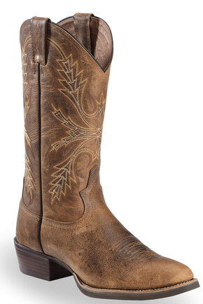 Justin Silver Buffalo Cowboy Boots - Round Toe, Antique Brown, hi-res