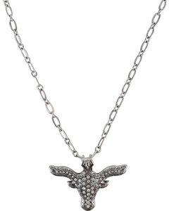 Shyanne Women's Rhinestone Longhorn Necklace , Silver, hi-res
