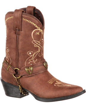 Lil' Crush by Durango Youth Girls' Brown Heartfelt Western Boots - Pointed Toe , Brown, hi-res