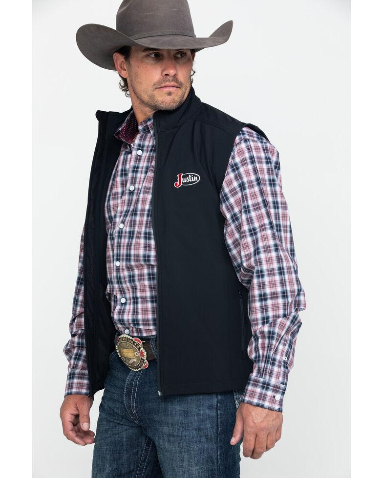 Justin Men's Black Laminated Softshell Bonded Vest , Black, hi-res