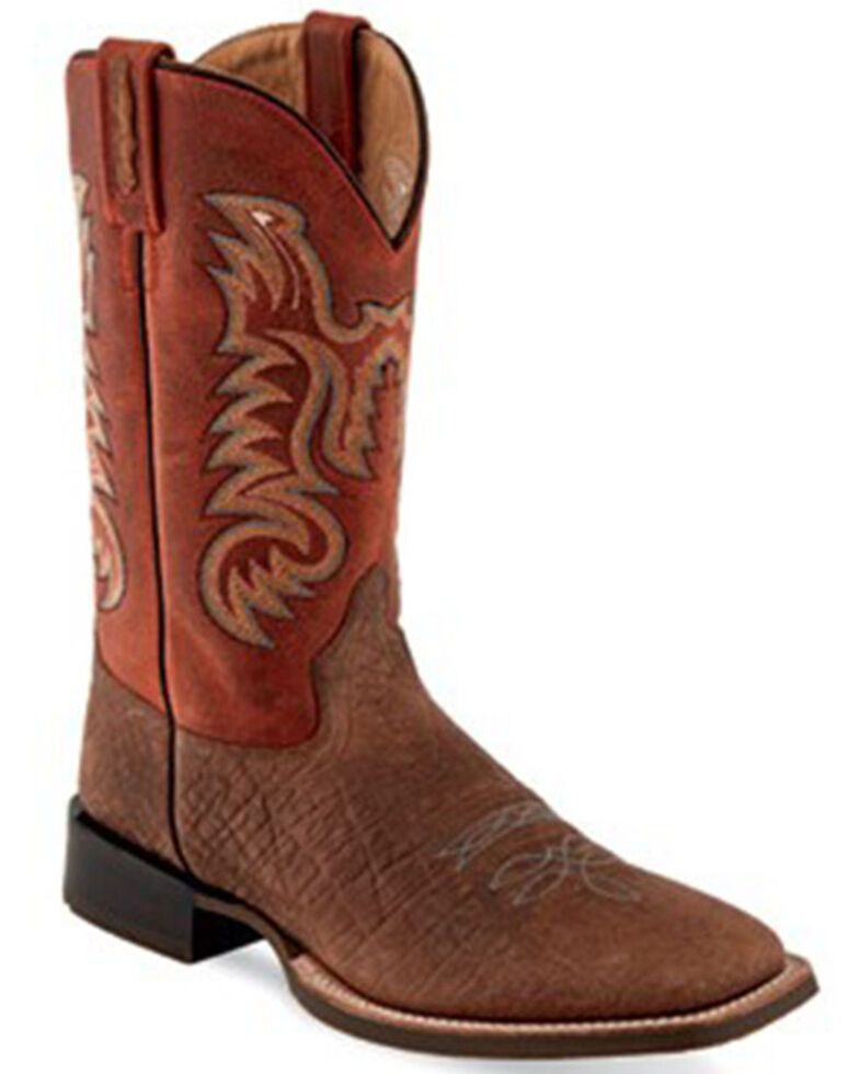 Old West Men's Brown Western Boots - Wide Square Toe, Brown, hi-res