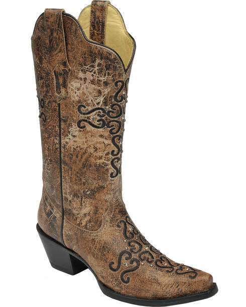 Corral Distressed Bronze Crystal Embroidered Cross Cowgirl Boots - Snip Toe , Bronze, hi-res