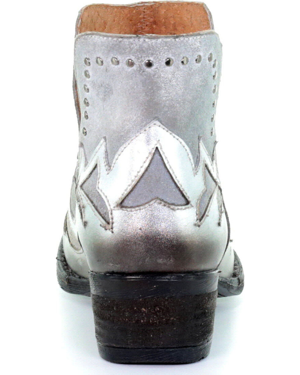 Circle G Women's Silver Overlay Cut Out Booties - Round Toe, Silver, hi-res