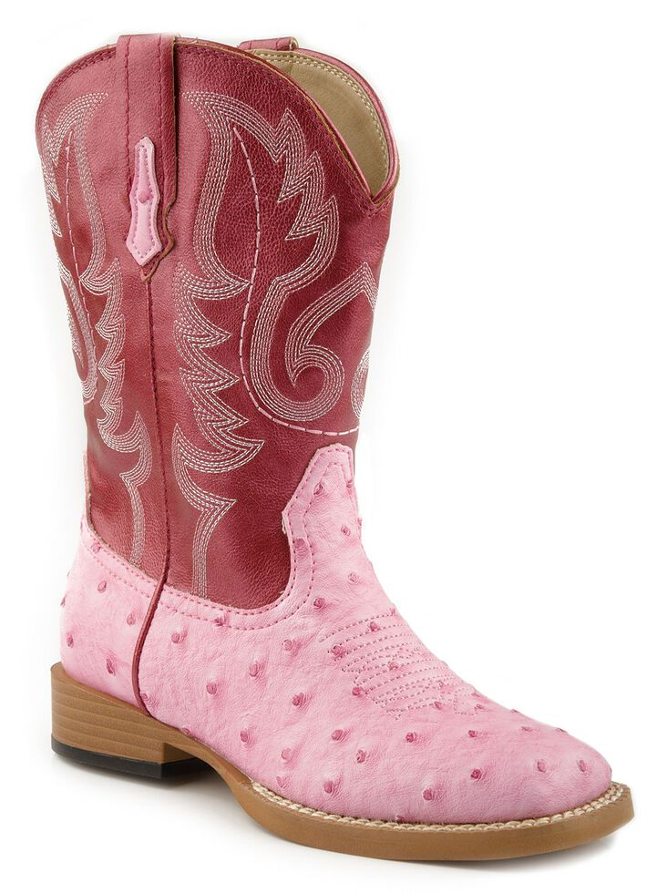 Roper Girls' Ostrich Print Cowgirl Boots - Square Toe, Pink, hi-res