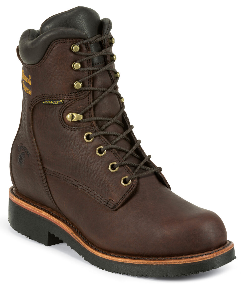 """Chippewa Men's Oiled Walnut 8"""" Lace-Up Waterproof Insulated Work Boots - Round Toe, Walnut, hi-res"""