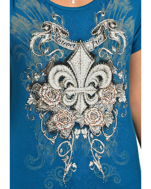 Liberty Wear Women's Fleur-de-Lis Teal Top, Teal, hi-res
