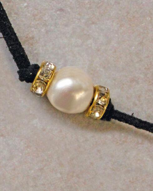 2 Queen B's Women's Black Suede Wrap Choker Freshwater Pearl Jewelry Set, Black, hi-res