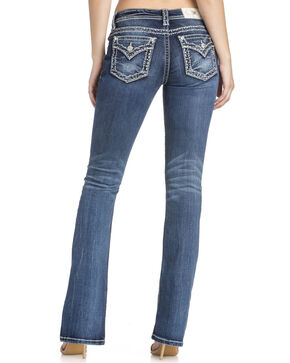 Miss Me Women's Thick Stitched Open Flap Boot Cut Jeans , Blue, hi-res