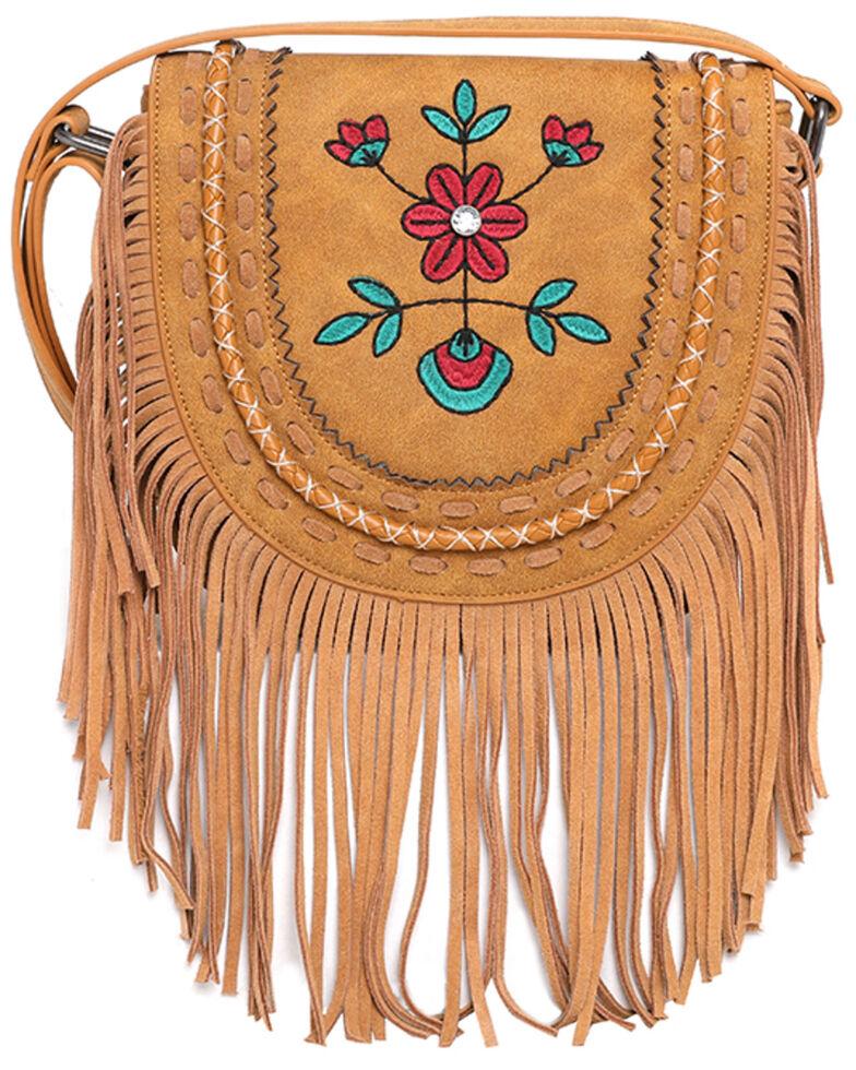Montana West Women's Wrangler Brown Floral Crossbody Bag, Brown, hi-res