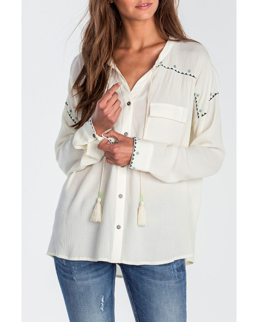 Miss Me Women's Ivory High-Low Embroidered Long Sleeve Blouse, Ivory, hi-res