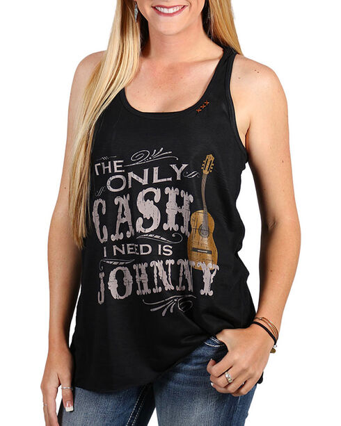 Bohemian Cowgirl Women's Johnny Cash Graphic Tank, Black, hi-res
